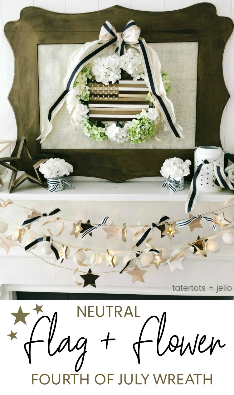 Neutral Wood Flag and Flower Fourth of July Wreath. Create a simple flower wreath with a wood flag in just minutes. Perfect for farmhouse or cottage decor!
