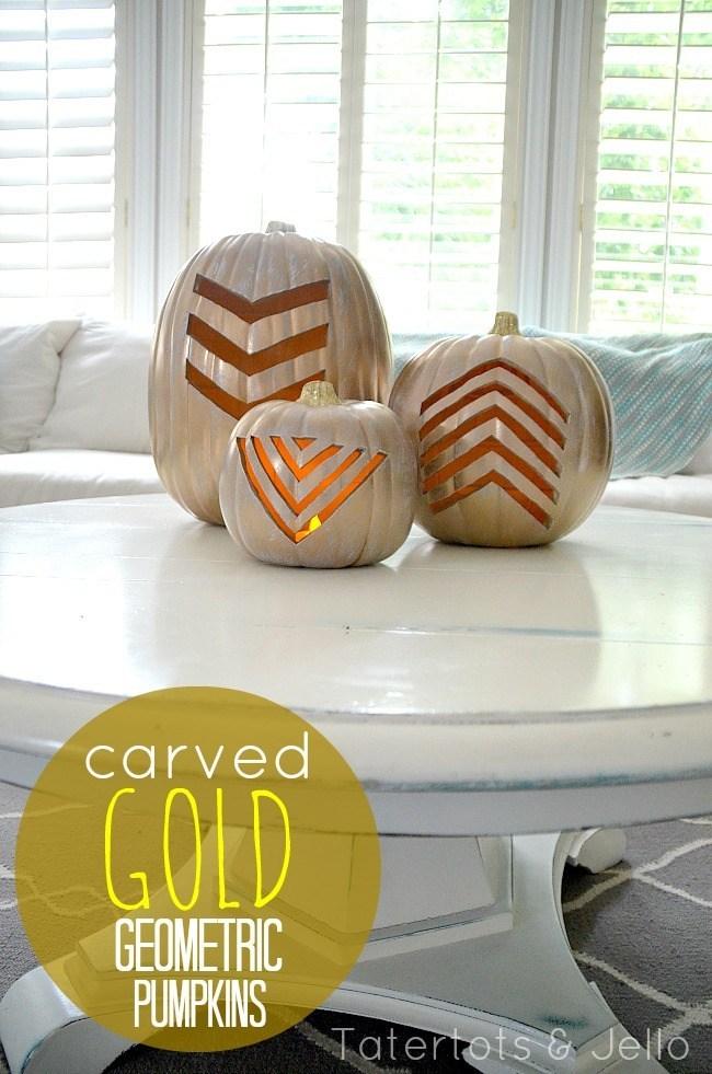 Make Gold Geometric Pumpkins for Fall