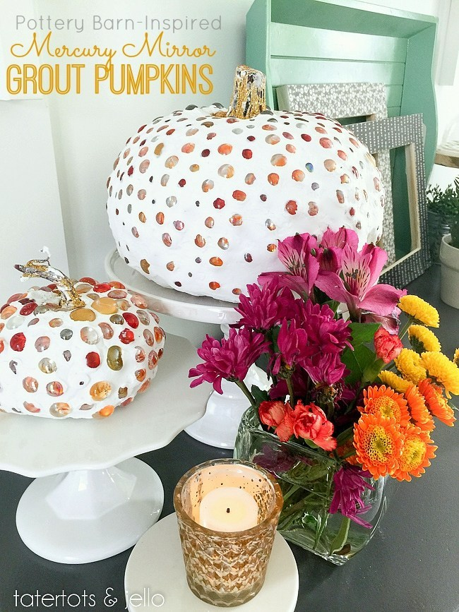 Pottery Barn Inspired Mercury Mirror Grout Pumpkins