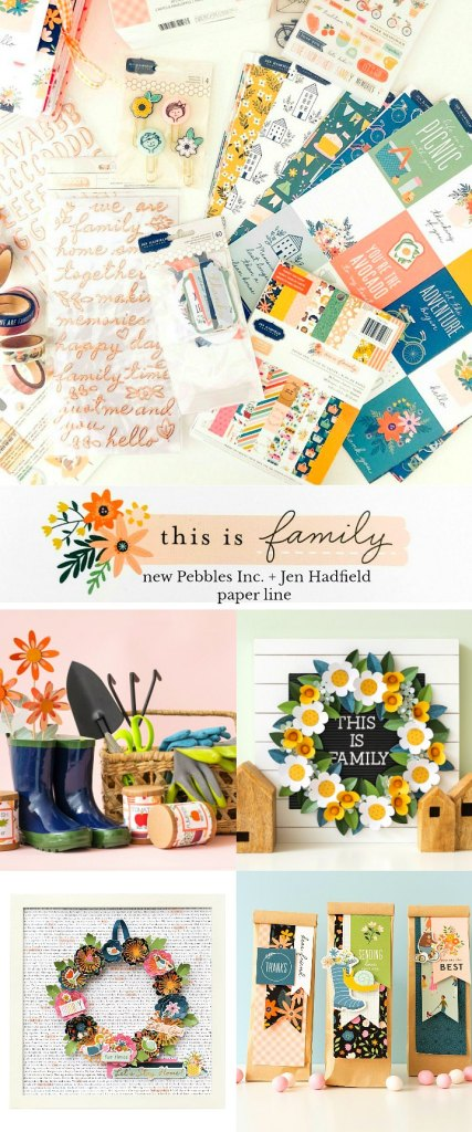 This is family paper line from Pebbles Inc and Jen Hadfield. Family traditions and bright embellishments.
