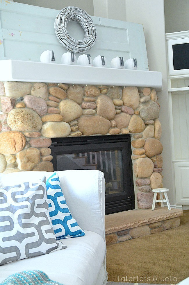 Modern White and Grey Fall Mantel @ Tatertots & Jello