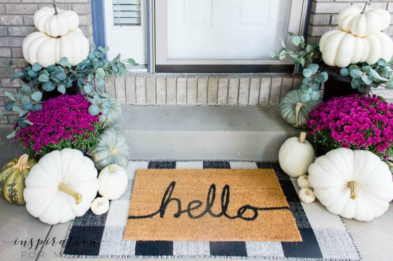 Layered Door mats and colorful porch ideas @Inspiration For Moms