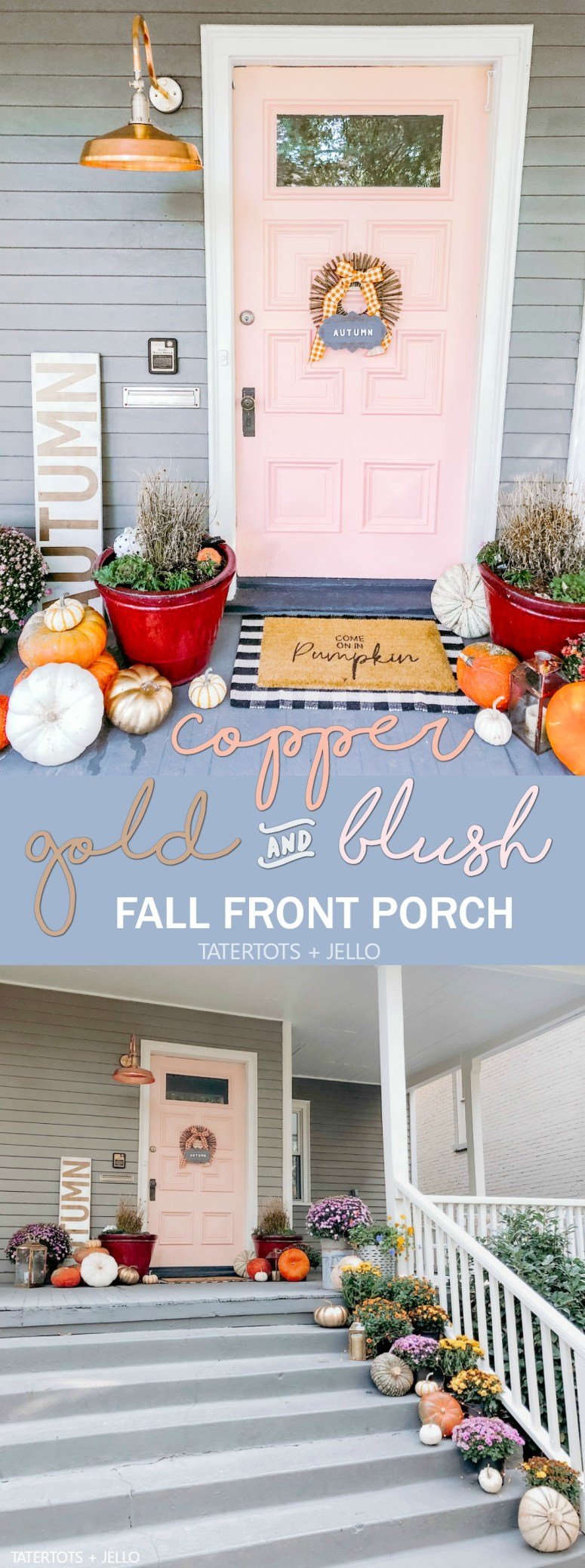 Copper, Gold and Blush Fall Porch Decorating Ideas! Celebrate Fall with a metallic pop of copper, gold and Blush. Easy ways to create a welcoming Autumn porch.