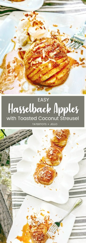 Hasselback Apples with toasted Coconut Streusel Topping. Delicate apple layers are filled with a rich, cinnamon caramel sauce and topped with crunchy coconut streusel topping in this easy recipe!