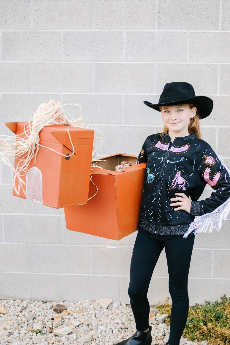 """Old Town Road"" Western Boxtume DIY. Turn a catchy western song into an easy Halloween costume with Amazon Prime smile boxes and some creativity!"
