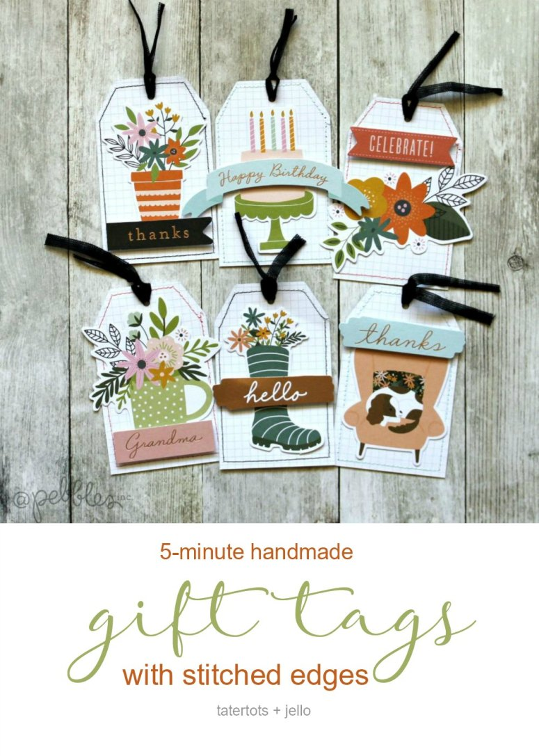 5-Minute handmade gift tags with Stitched Edges! Create adorable handmade tags in minutes with This is Family scrapbook line and sewn edges.