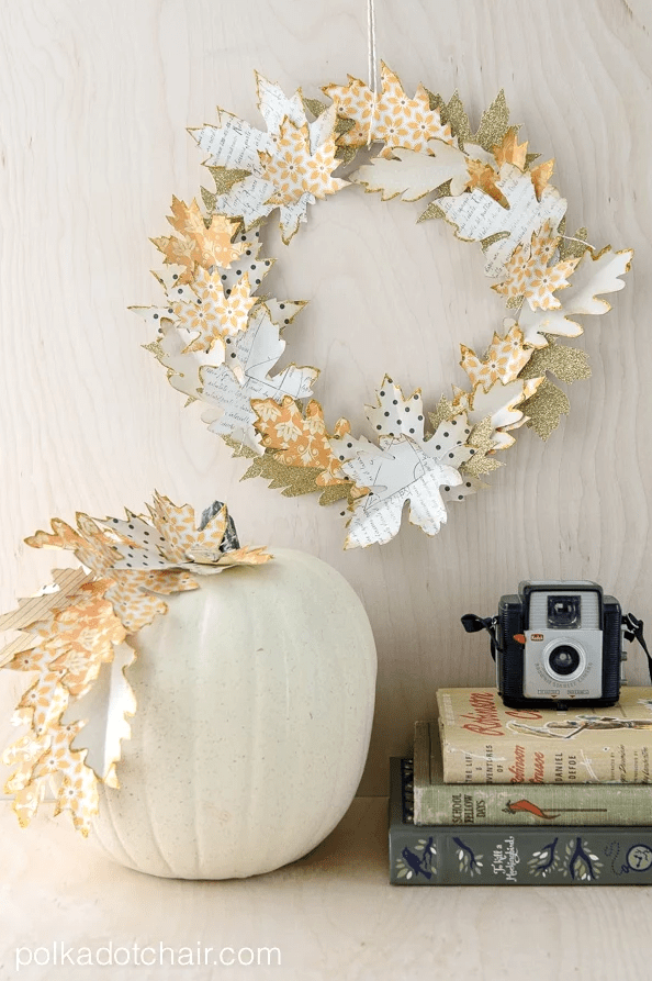 Autumn Paper Leaf Wreath Tutorial @ Polkadot Chair