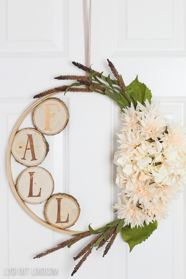 How to Make an Embroidery Hoop Wreath with Wood Slices @ Lydi Out Loud