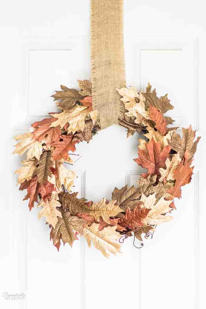 Metallic Browns and Gold Leaf Fall Wreath @ Domestically Speaking
