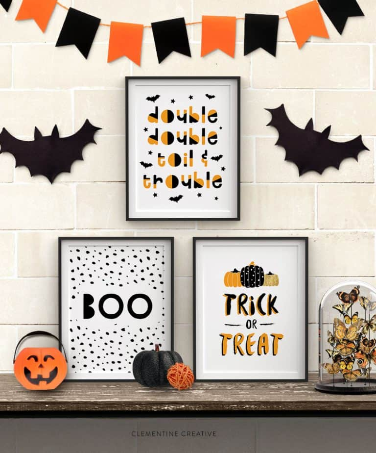 Wickedly Fun Printable Halloween Wall Art for your Halloween Decor @ Clementine Creative