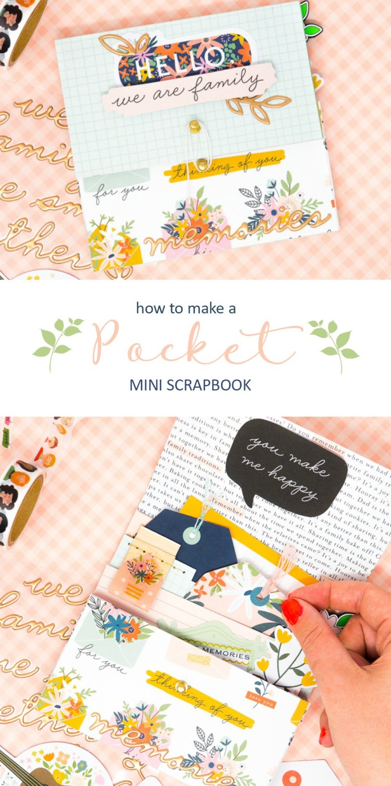 DIY Pocket Mini Scrapbook. Keep your memories close at hand with a handy little scrapbook that has pockets and fits in your purse!