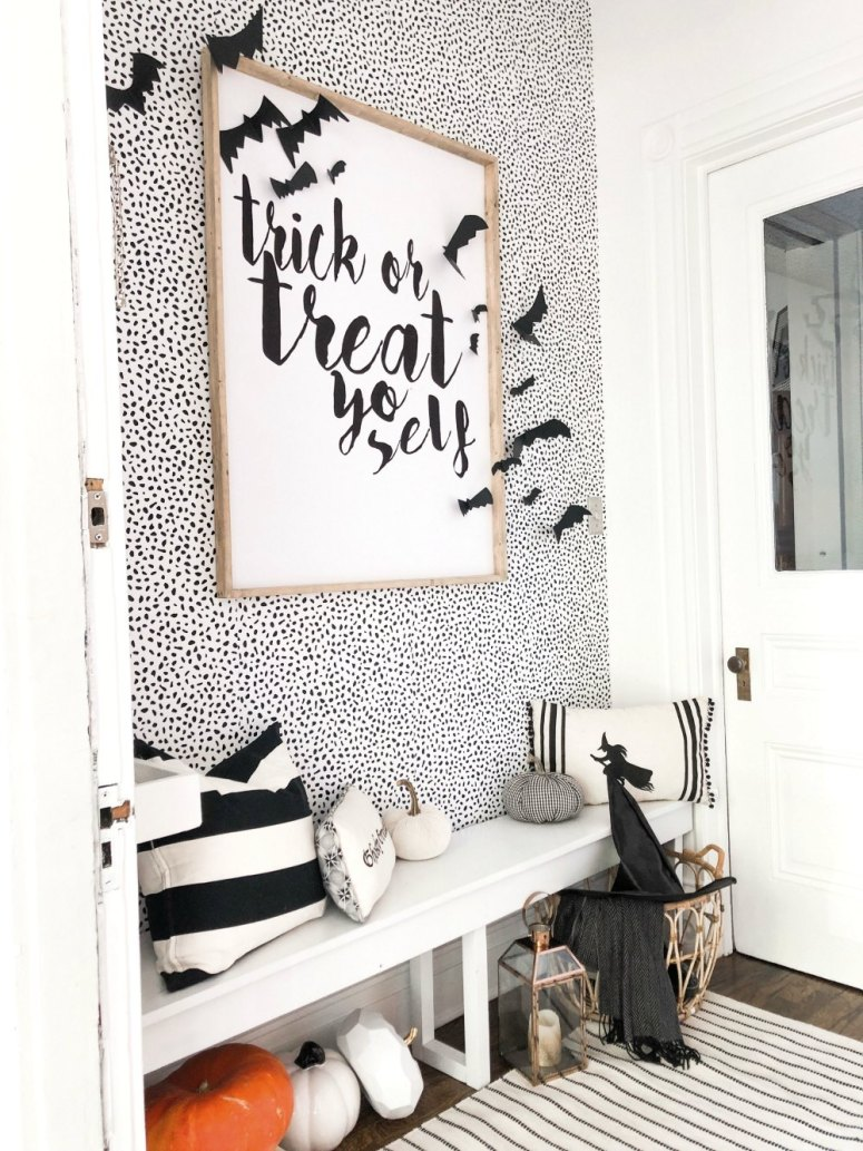Entryway with removable wallpaper
