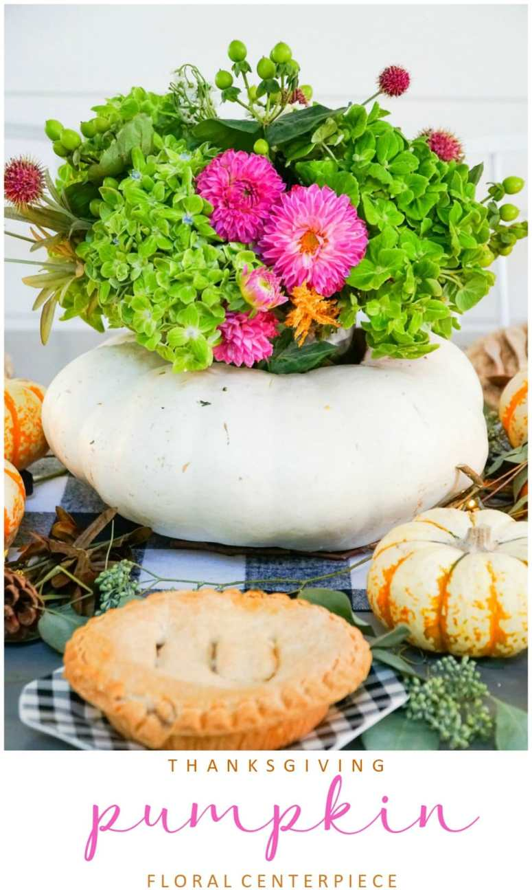 how to make a live pumpkin floral centerpiece for Thanksgiving