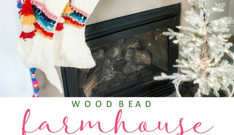 Farmhouse Wood Bead and Pom Pom Garland