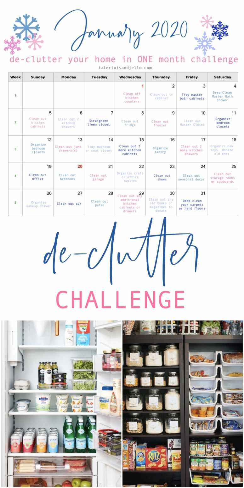 January 2020 Organization Challenge with free printable calendar! Organize your home, one space at a time, and have it all done in ONE month.