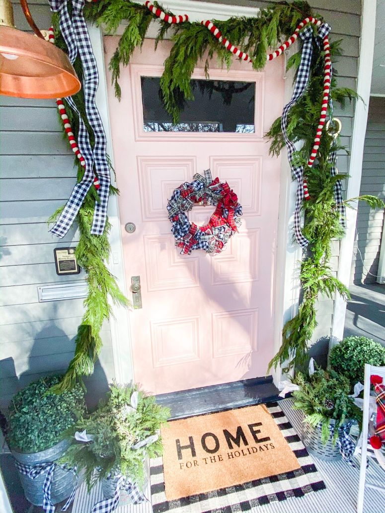 Easy Plaid Ribbon Holiday Wreath Tutorial. Use ribbon to create a festive plaid wreath that is perfect to display all holiday long!