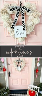 How to Make a Valentine Heart Pom Pom Yarn Wreath