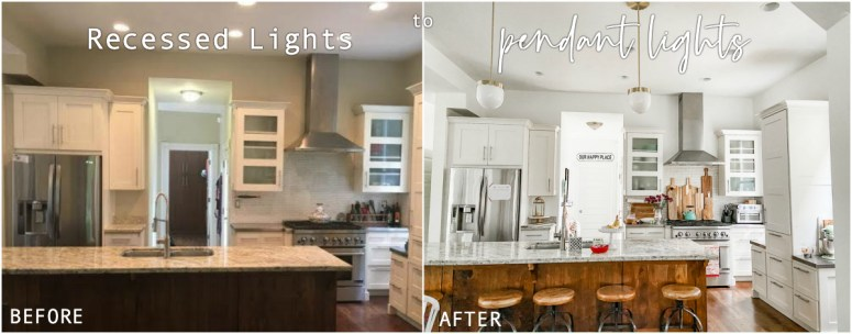 How to change a recessed can light into a pendant light with no remodeling. Switch out a can light for a beautiful pendant or chandelier light in just minutes with no remodeling!