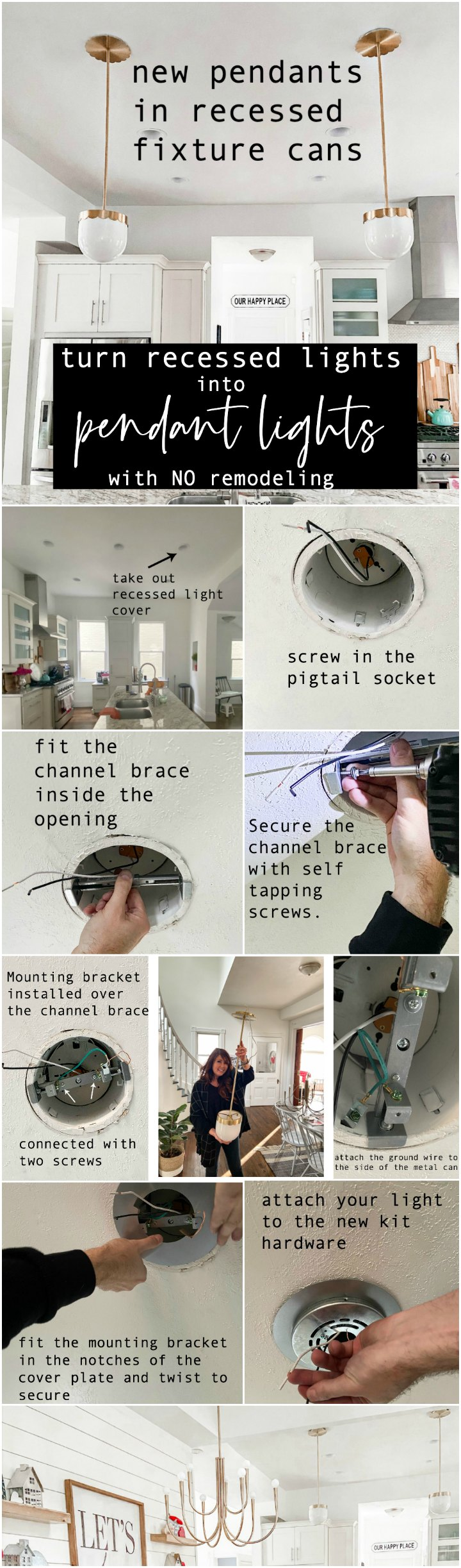 How To Change A Recessed Can Light To A Pendant Light No Remodeling