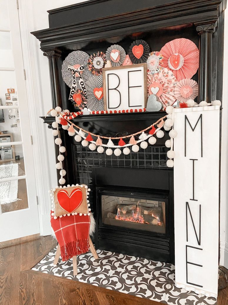 Valentine's Day Paper Medallion Mantel. Create a colorful Valentine's Day Mantel with DIY paper medallions and handmade Be Mine Signs!