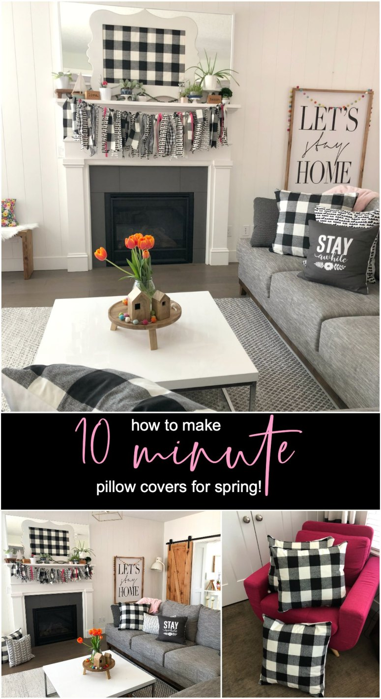 Make 10-Minute Pillow Covers for Spring. Pillow covers are an easy and inexpensive way to change a room for different seasons and holidays.