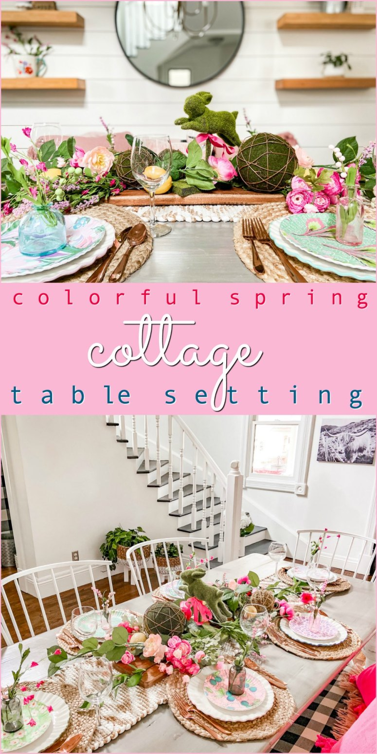Colorful Spring Cottage Table Setting. Celebrate Spring with a colorful table setting anchored by bright patterned plates and a whimsical bunny and branches centerpiece.