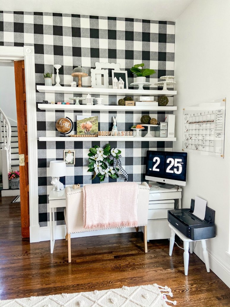 Office remodel with plaid removable wallpaper