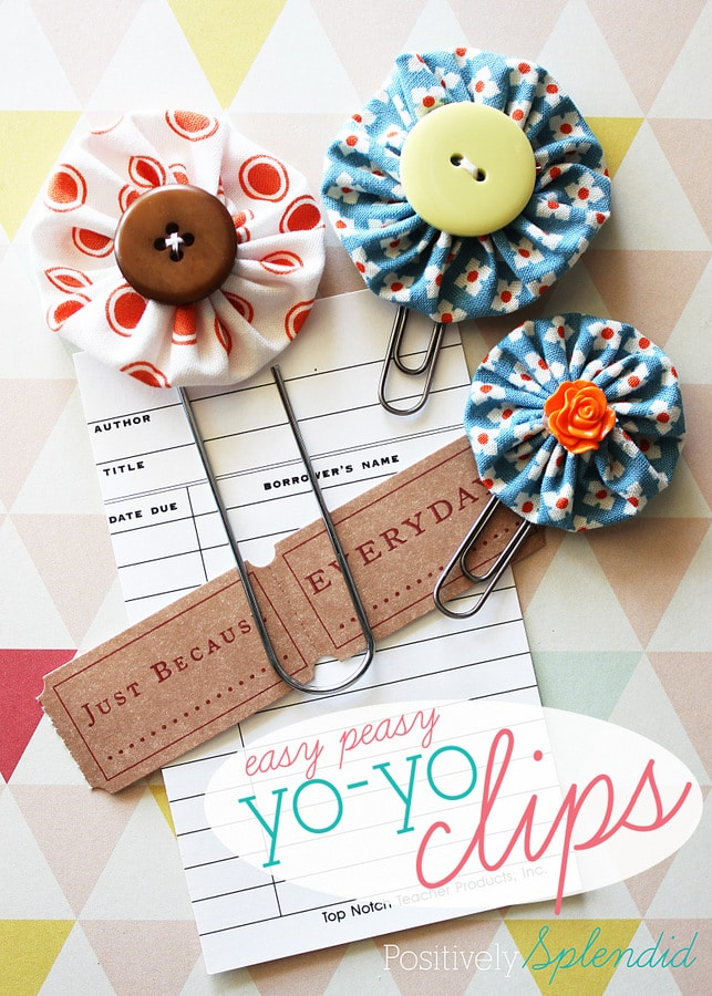 Easy Peasy Yo Yo Clip Bookmarks and a month of easy kid crafts you can make at home.