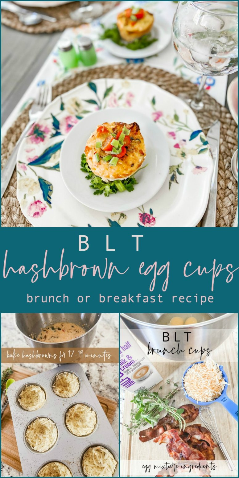 BLT Hashbrown Egg Brunch Cups. Bake up a batch of hashbrown egg cups in minutes. Perfect for Mother's Day brunch but they can easily be refrigerated or frozen for meal planning breakfasts too!