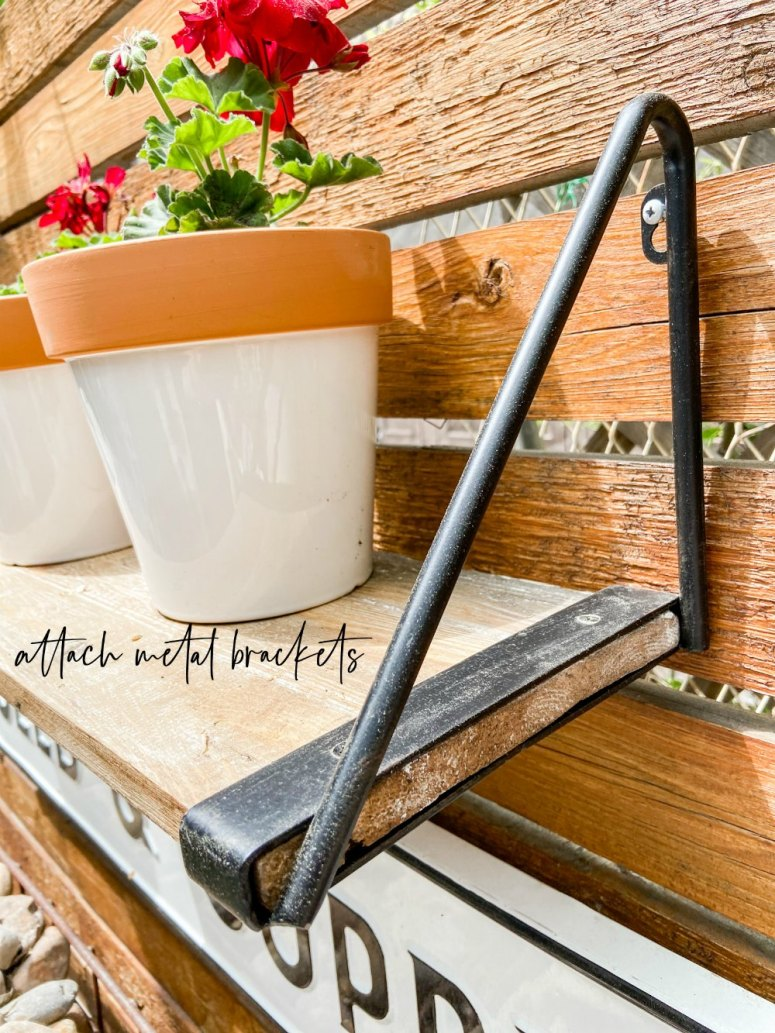 how to create modern farmhouse shelves for a vertical patio garden. Closeup of brackets.