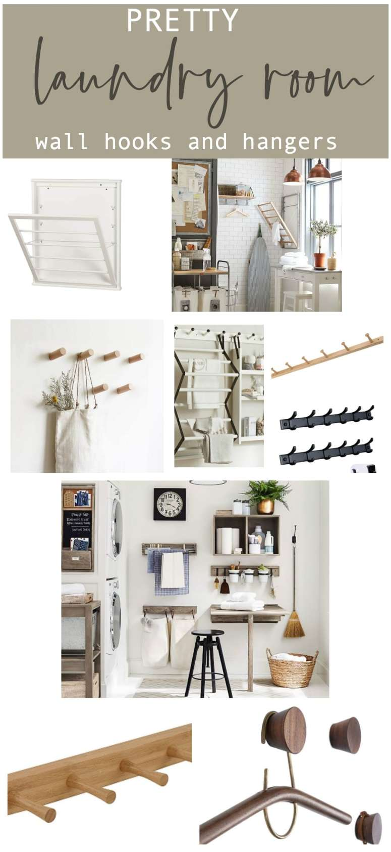 Pretty laundry room wall hooks and hangers for beautiful storage.