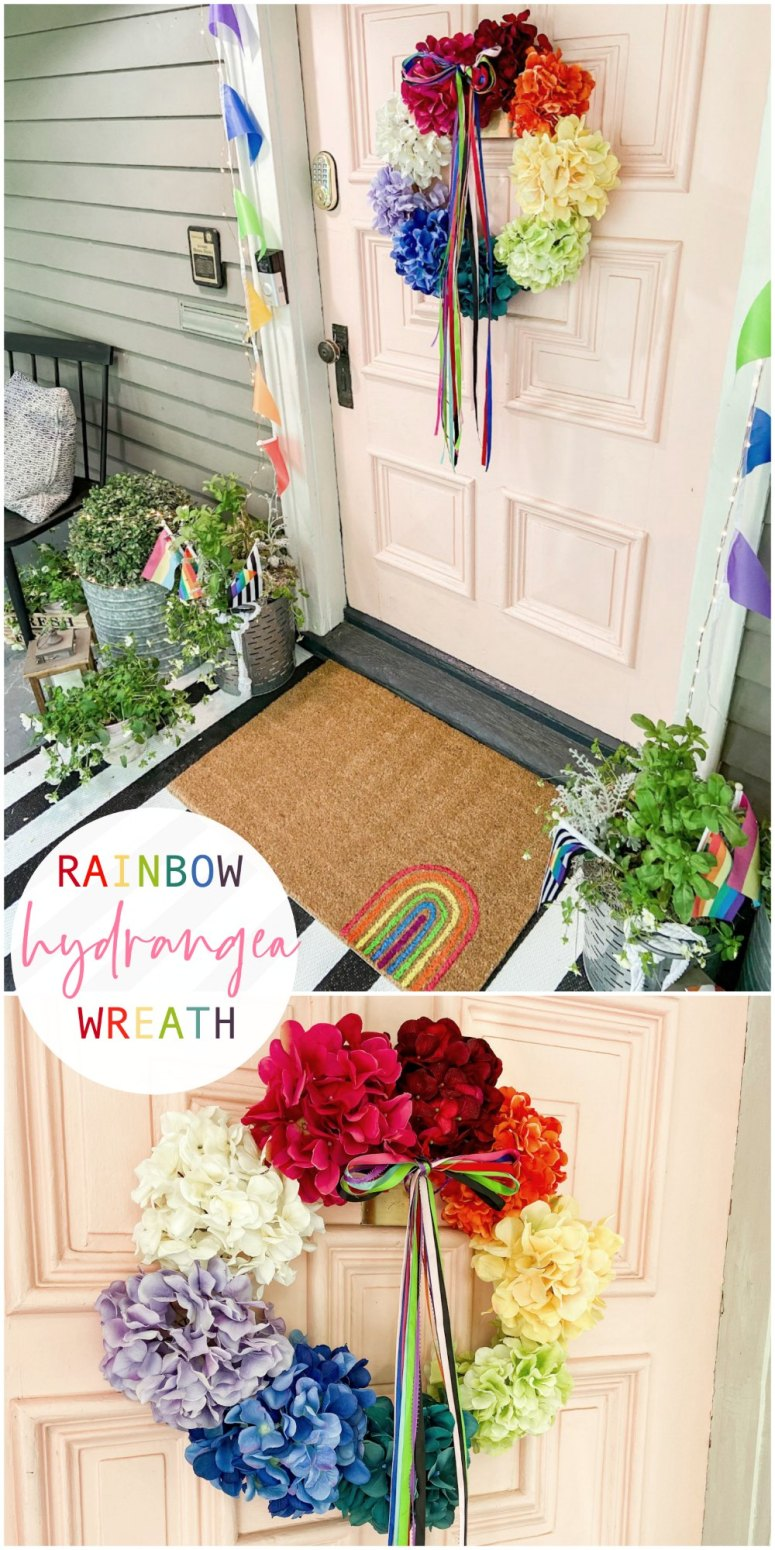 Rainbow Pride Hydrangea Wreath. Celebrate Pride Month and Summer with a colorful and happy rainbow flower wreath!
