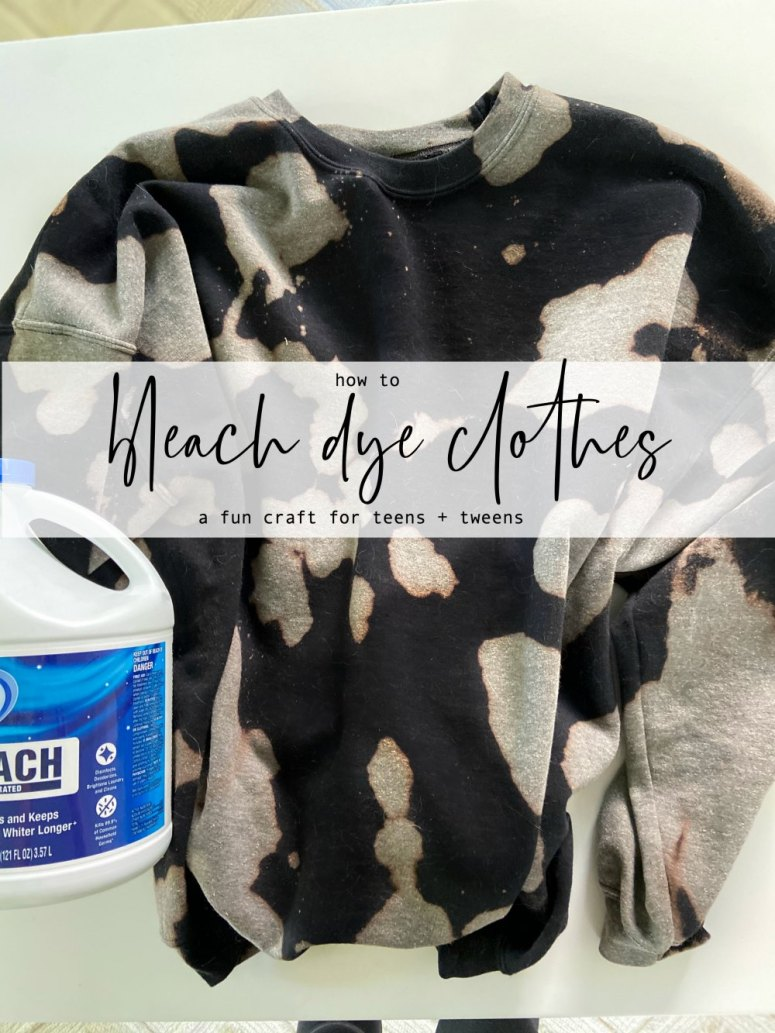 How to Bleach Dye Clothes - a FUN teen or tween craft. Bleach Dying clothes is a fun summer craft. All you need is bleach to give old clothes a brand new look!