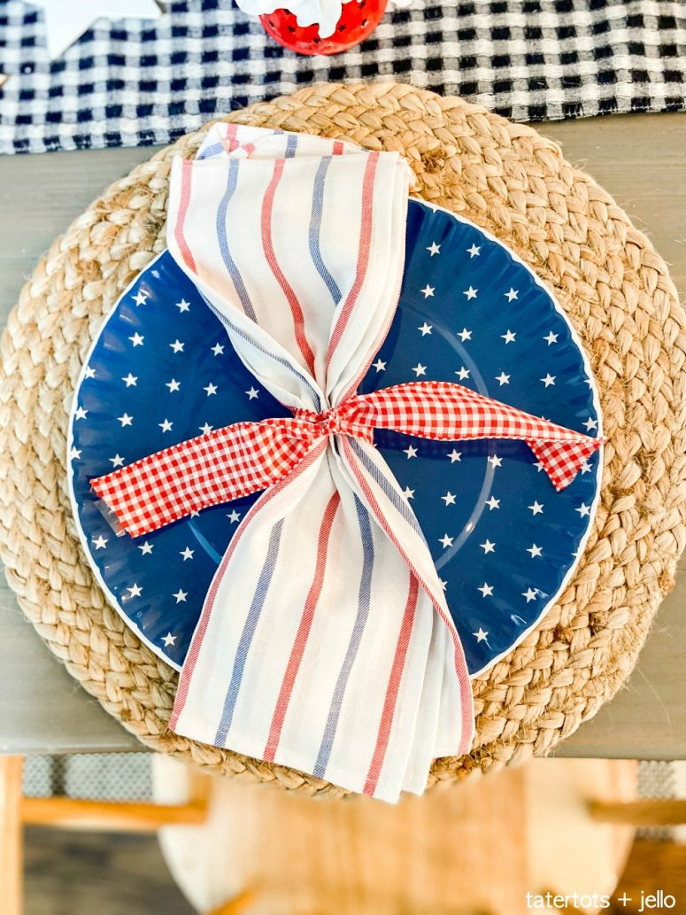 Patriotic Tablescape ideas with dollar items.