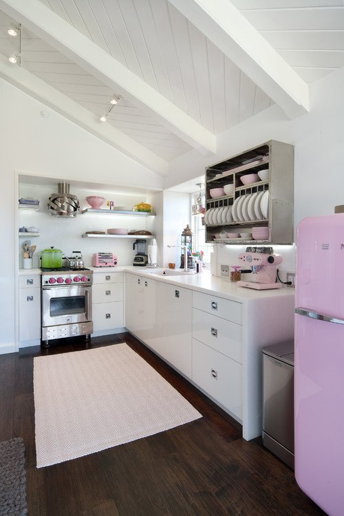 Pink Smeg fridge kitchen