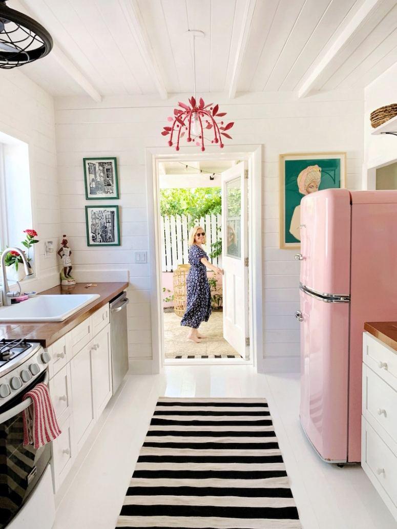 pink Smeg kitchen at Look Linger Love