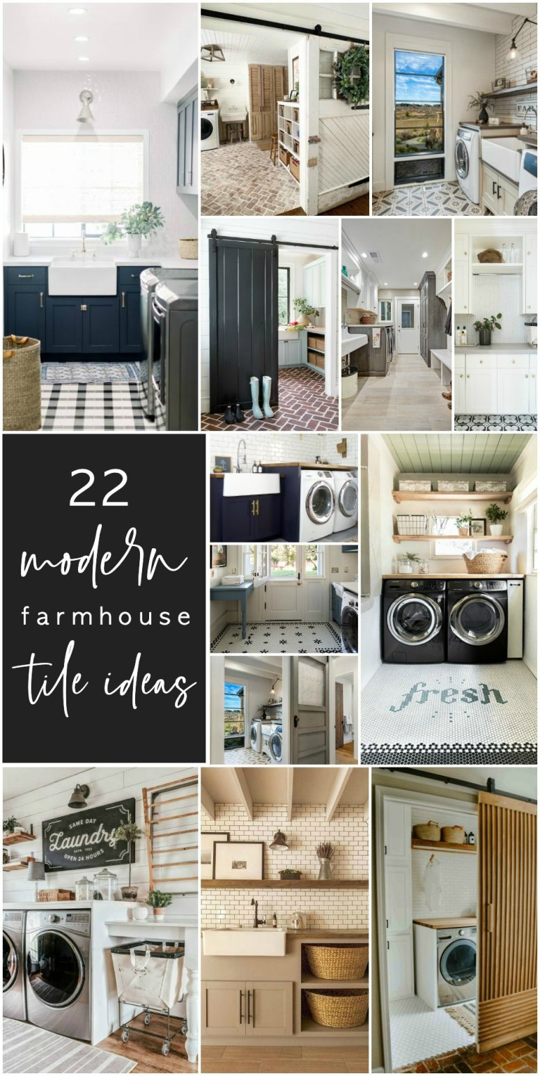 22 Gorgeous Tile Ideas for Modern Farmhouse and Cottage Laundry Rooms. Make your laundry room a showpiece in your home by adding some pretty tile and shelves!