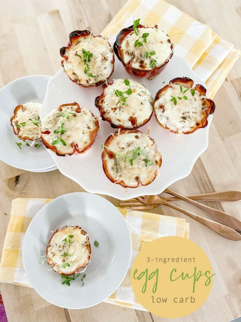 3-Ingredient Low Carb Breakfast Egg Cups. Start your day with this protein-packed low-carb on-the-go breakfast cup that is SO good!