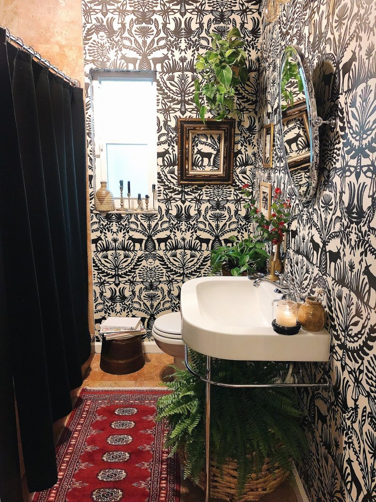 Arte Boheme Bathroom Makeover with Wallpaer like Target's print
