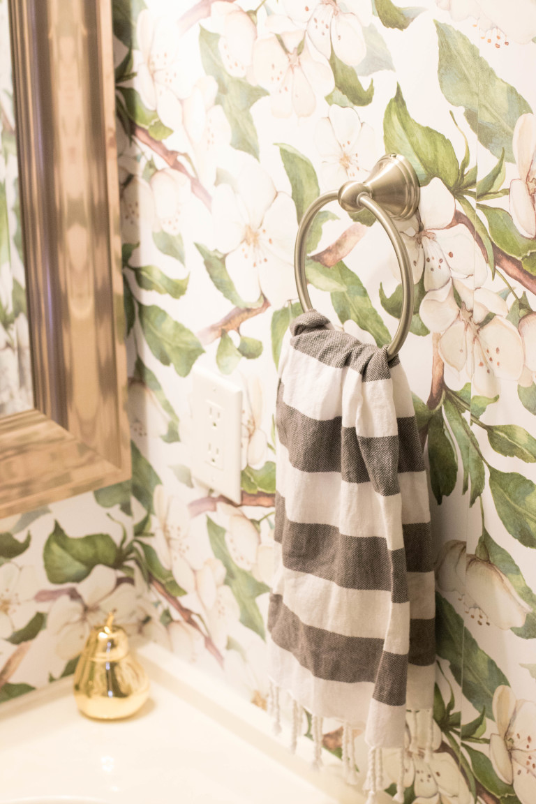 Coffee Beans and Bobby Pins Bathroom Makeover with Removable Wallpaper