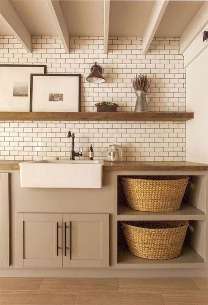 Earthy laundry room