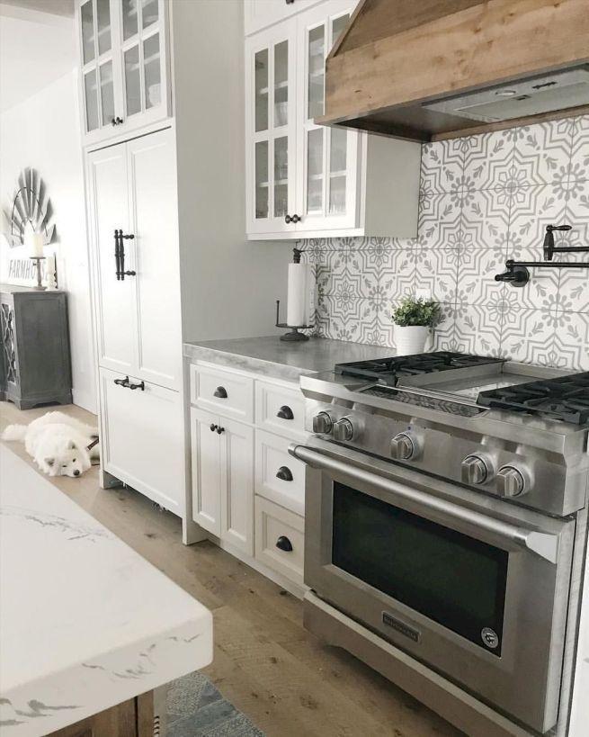 Neutral Boho Cement Tile Kitchen Backsplash