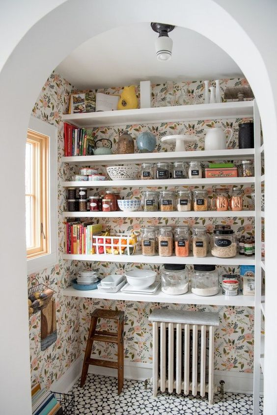 wallpapered pantry at City Spaces