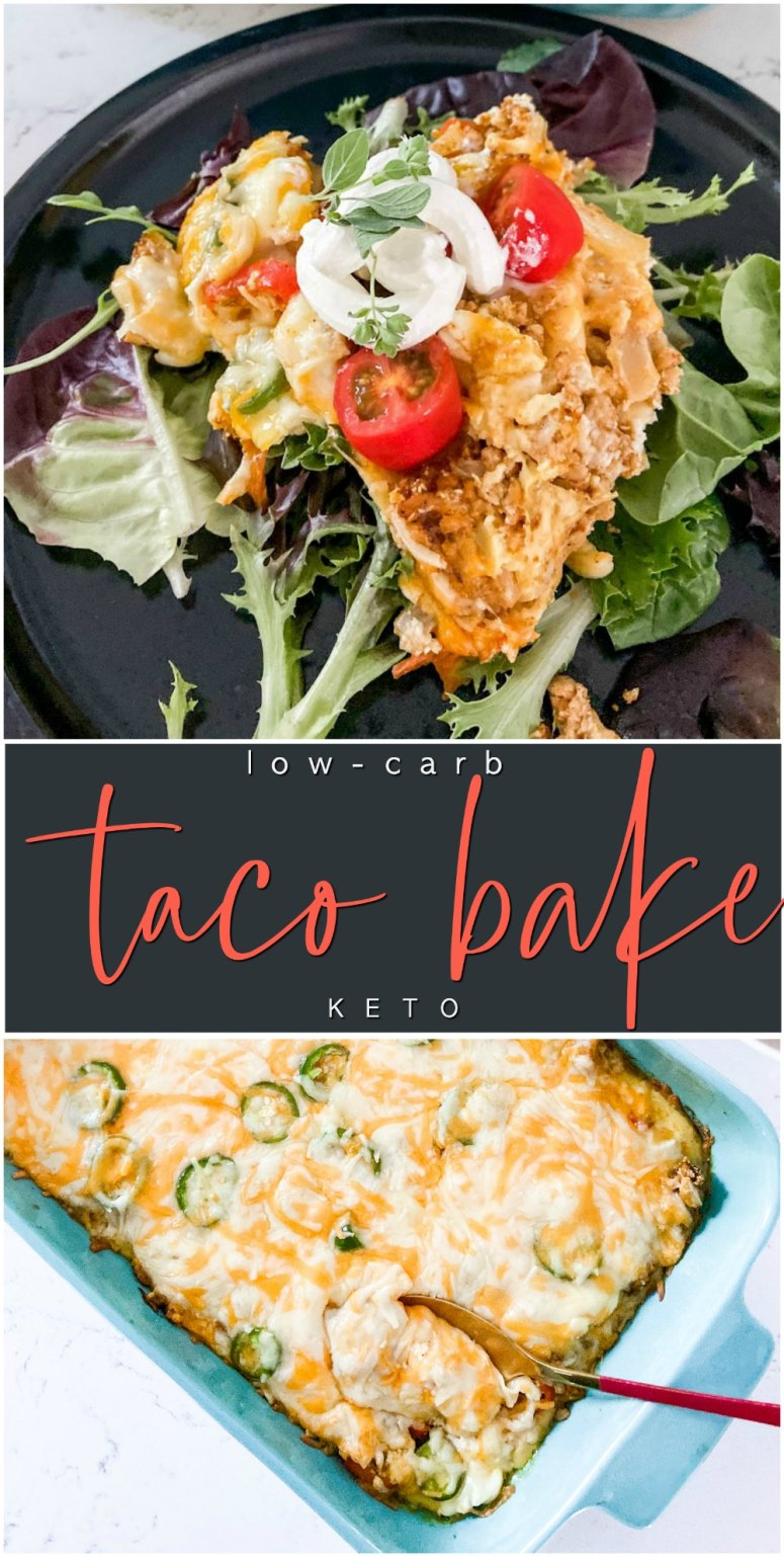 Low Carb Cheesy Taco Bake - Keto. A cheesy keto taco casserole that is the perfect topping over salads for you and over chips for your kids! All of the taste of tacos with a fractions of the carbs!