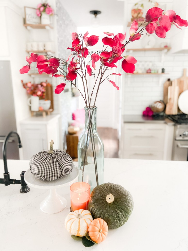 Colorful Cottage Fall Kitchen Tour. Easy ways to bring bright pops of fall color into your home for Autumn.
