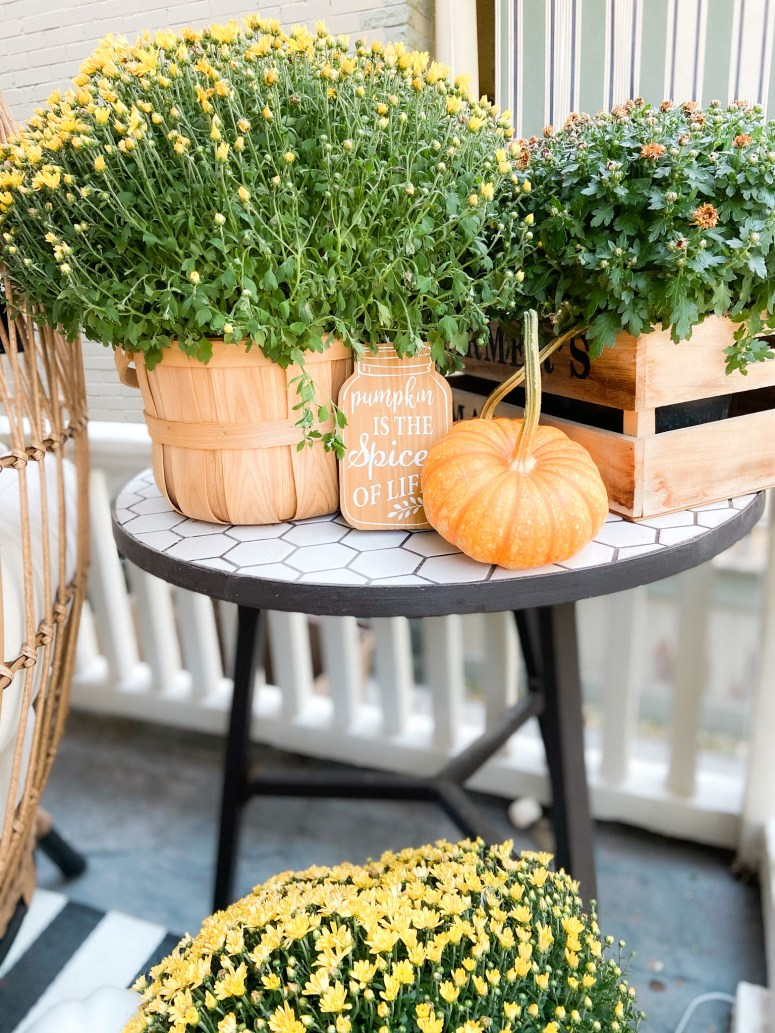 Boho Cottage Fall Porch Ideas. 5 Ways to Make an Outdoor Room for Fall. Use rattan furniture, potted flowers, pumpkins and cozy pillows to create a warm and welcoming fall porch.