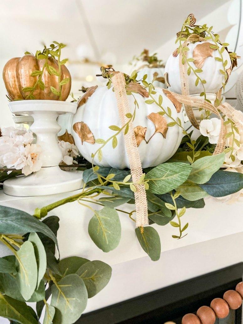 DIY Gilded Leaf Pumpkins. Celebrate fall with a leaf-inspired pumpkin for a fresh take on Autumn.