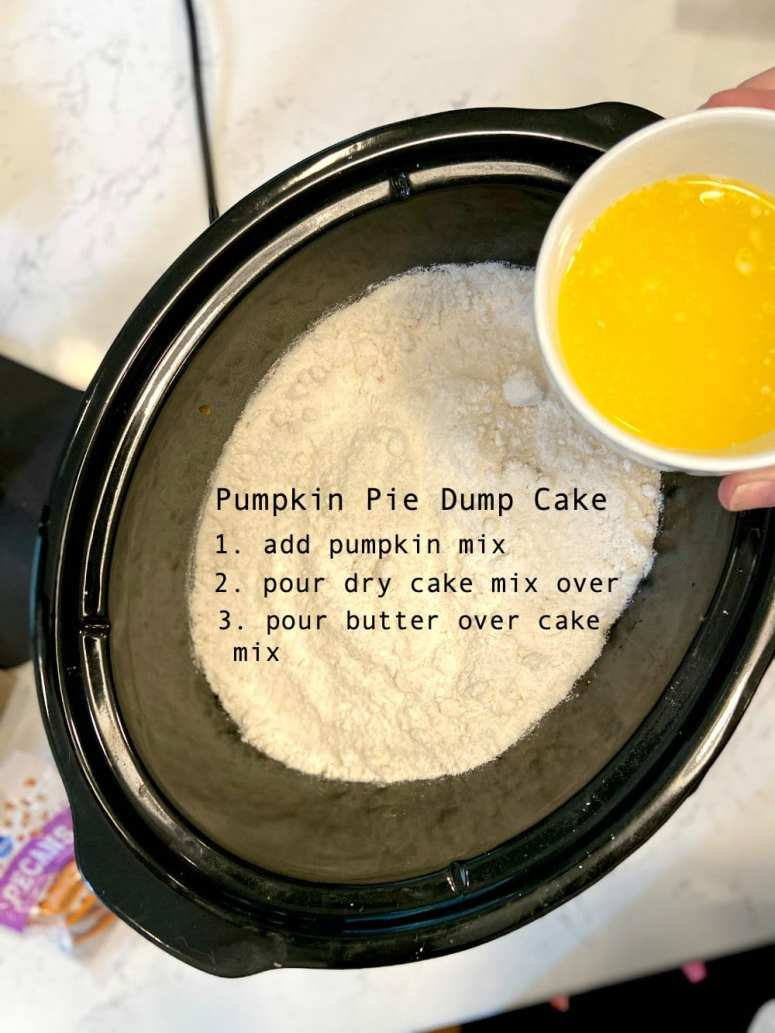 Crockpot Pumpkin Pie Dump Cake. Want an easy dessert to make for fall? Whip up this easy Pumpkin Pie Dump Cake which only takes 5 minutes to prep and then cooks in your crockpot and makes your home smell so good!