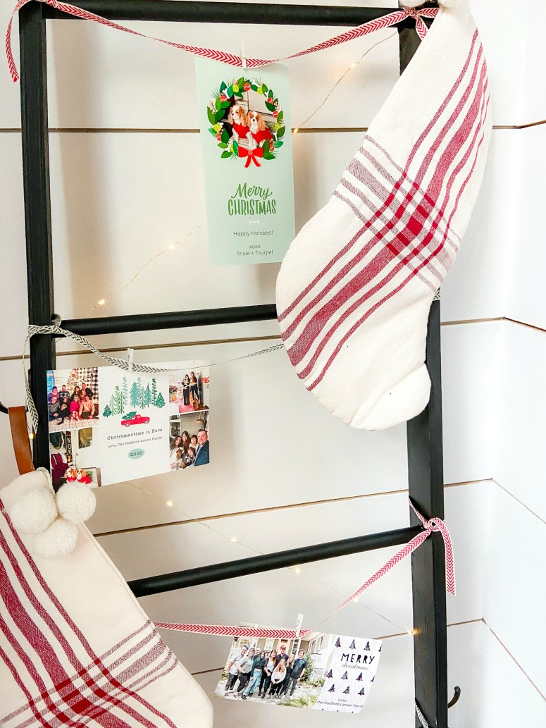DIY Holiday Card Display Ladder. Build this simple ladder to display cards and stockings this holiday season!