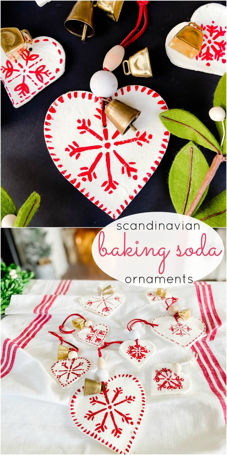 Scandinavian Painted Baking Soda Heart Ornaments. Use THREE simple kitchen ingredients to make adorable holiday ornaments and paint them with your kids!